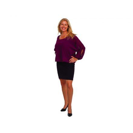 Bigy lila muszlin felső részű alkalmi ruha 42