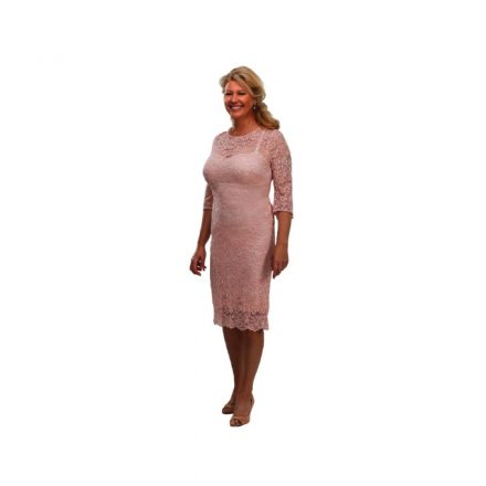 Bigy rózsaszín harang ujjú csipke ruha