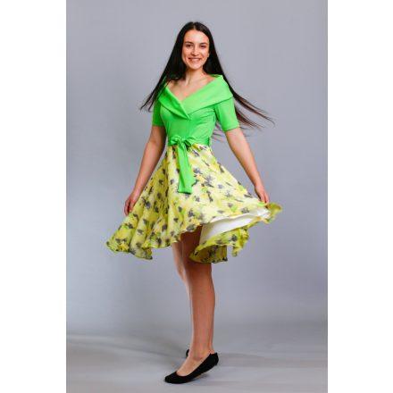 Bigy zöld ruha mintás loknis aljú