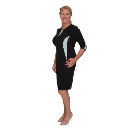 Bigy fekete ruha világoskék betéttel 3/4 ujjú 40