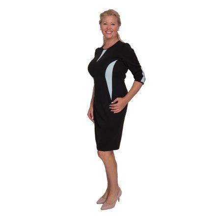 Bigy fekete ruha világoskék betéttel 3/4 ujjú 44