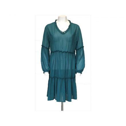 Bigy petrol kék muszlin hosszú ujjú ruha