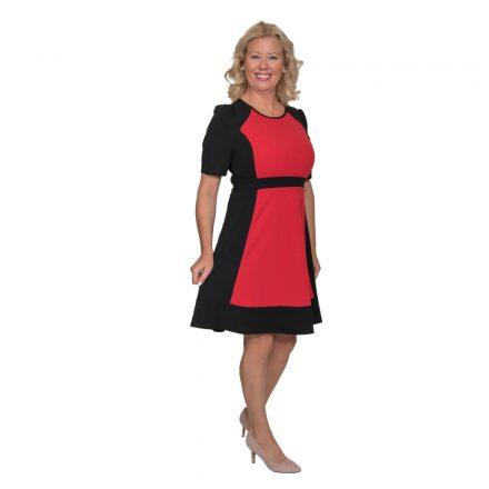Bigy fekete-piros loknis aljú ruha 36