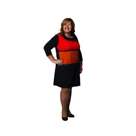 Bigy fekete elöl narancs betéttel garbós nyakú ruha 44
