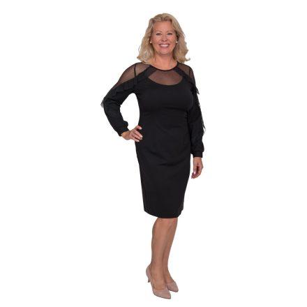 Bigy fekete ruha vállánál fodros 46