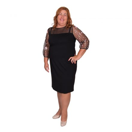 Bigy fekete ruha, tüll hosszú ujjal rózsaszín virág díszítéssel