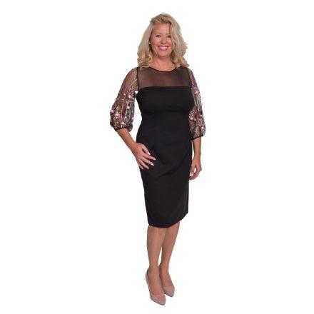 Bigy fekete ruha, tüll hosszú ujjal rózsaszín virág díszítéssel 40