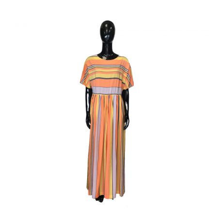 Narancssárga szürke fehér csíkos hosszú ruha