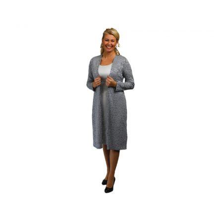 Bigy szürke ujjatlan ruha csipke kabáttal