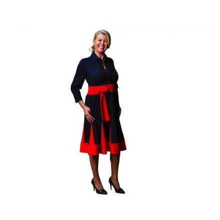 """Bigy fekete """"A""""vonalú ruha piros betéttel 36"""