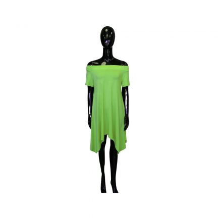 Vállkidobós kivi zöld pamut ruha