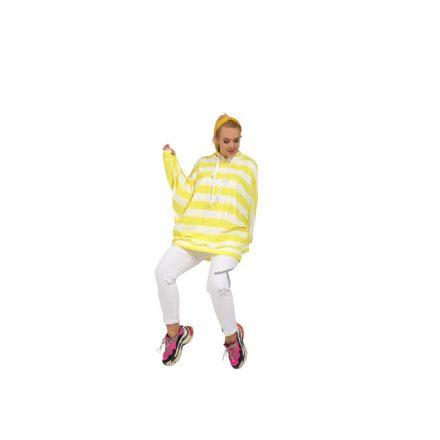 Taffi sárga fehér csíkos kapucnis pulóver