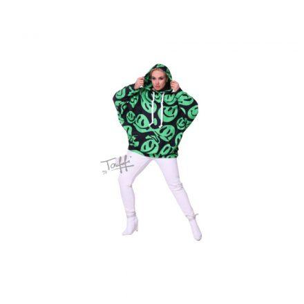 Taffi zöld mintás kapucnis pulóver