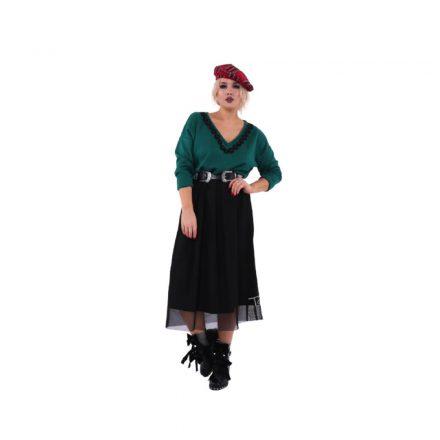 Taffi hosszú ruha, felül zöld, alul tüllös onesize