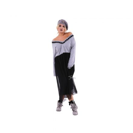 Taffi hosszú ruha, felül szürke alul tüllös one size 38-50