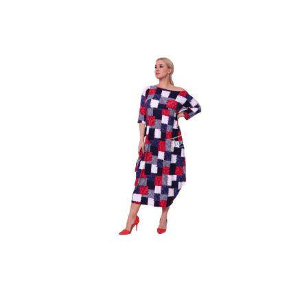 Taffi kék fehér piros kockás ruha 38-50