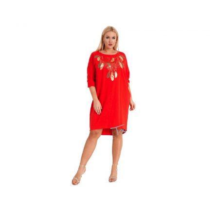 Taffi piros tunika aranylevél mintával one size 38-50