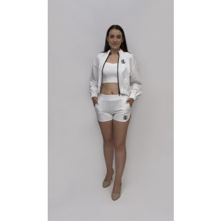 Dressforyou pamut fehér szett kardigán top rövid nadrág