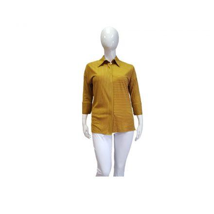 Mustársárga színű csíkos ing