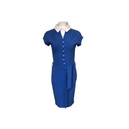 Kék gombos ruha fehér gallérral