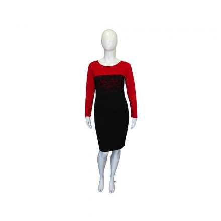 Sötétkék piros ruha csipke díszítéssel