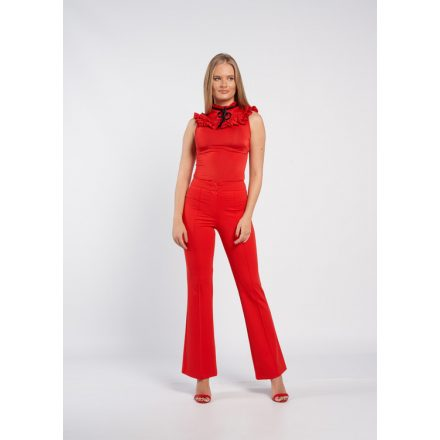 Piros bőszárú élre varott nadrág